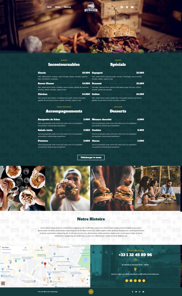 Modèle site Restaurant Burger