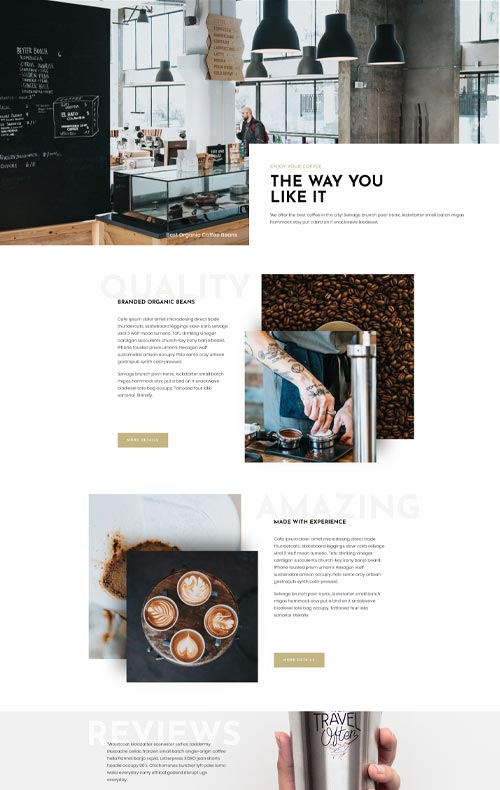 modèle site coffee shop